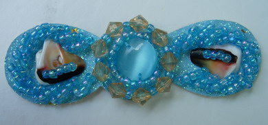 SB122 Bow Style Cateye Stone Beaded Jewelry Applique Jewel Aqua