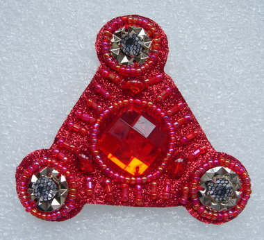 SB124-2 Triangle Gems Beaded Jewelry Applique Jewel Red
