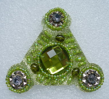 SB124-3 Triangle Gems Beaded Jewelry Applique Jewel Lime