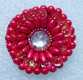 SB137 Red Layered Flower Sequin Beaded Rhinestone Applique