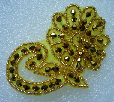 SB146 Rhinestones Flower Floral Jewelry Applique Motif Gold