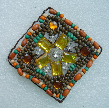 SB151 Rhombus Wood Beaded Amber Stones Applique Jewelry