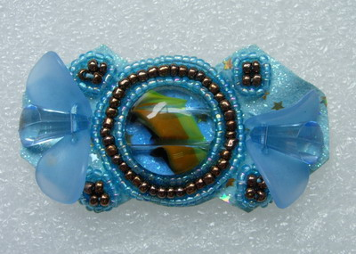 SB166 Cat Eye Gem Rhinestones Beaded Motif Jewelry Blue