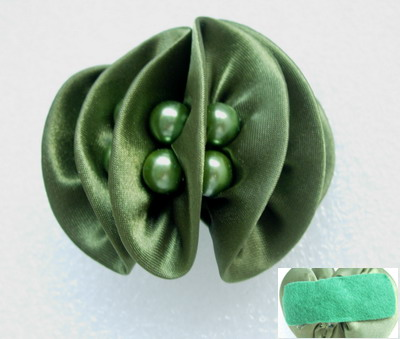 SB175 3D Bow Satin Bead Jewelry Motif Navy Green Hairdress *2