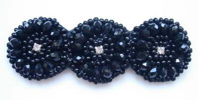 SB182 Cycles Rhineshones Beaded Jewelry Applique Gun Black