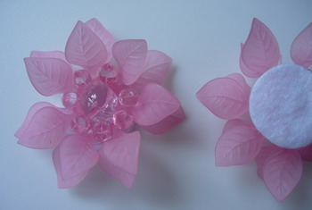 SB192 Acrylic Petals Flower Jewelry Brooch Pin Pink 4pcs