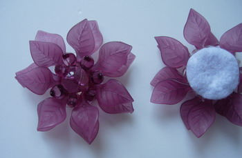 SB193 Acrylic Petals Flower Jewelry Brooch Pin Burgundy 4pcs