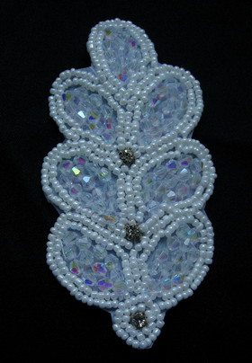 SB201-3 Rhinestone Diamonds Beaded Applique/Jewelry~Leaf~