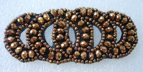 SB204 Shiny Rhinestone Beaded Applique Jewelry~4-Rings Logo~