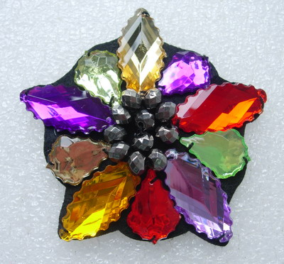SB213 MULTICOLOR STAR Lucite Rhinestone Beaded Jewelry Applique