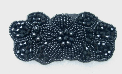 SB232 Floral Flower Rhinestones Beaded Motif Black