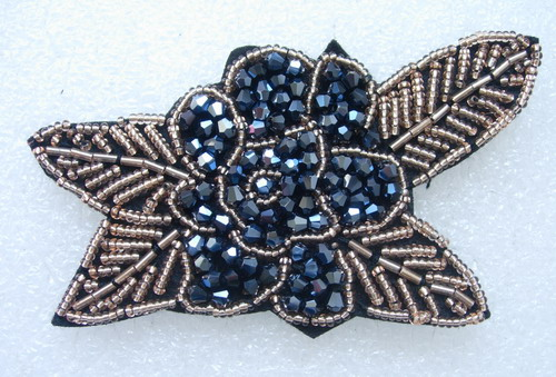 SB239 Rose Floral Rhinestones Beaded Motif Jewelry Gun-Black