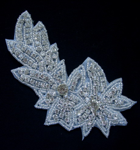 SB257 Floral Leaf Rhinestones Crystal Beaded Motif Jewelry