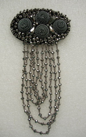 SB261 Fringed 3D Floral Rhinestone Beaded Motif Jewelry Brooch