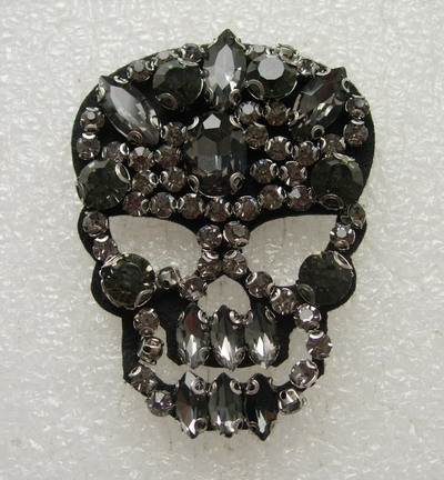 SB262 Punk SKULL Rock Goth Rhinestone Motif Jewelry Dark Clear
