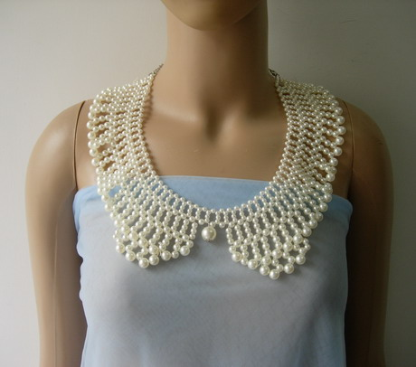 SB267 Pearl Beads Woven Collar Necklace Jewelry Fashion