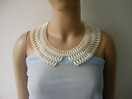 SB268 Pearl Beads Teardrop Woven Collar Necklace Jewelry Adorn