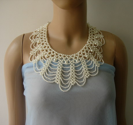 SB270 Faux Pearl Beaded Woven Collar Necklace Dress Embellished