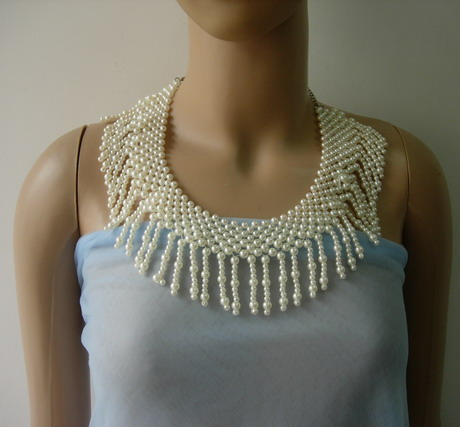 SB271 Pearl Beaded Woven Fringed Choker Necklace Jewelry