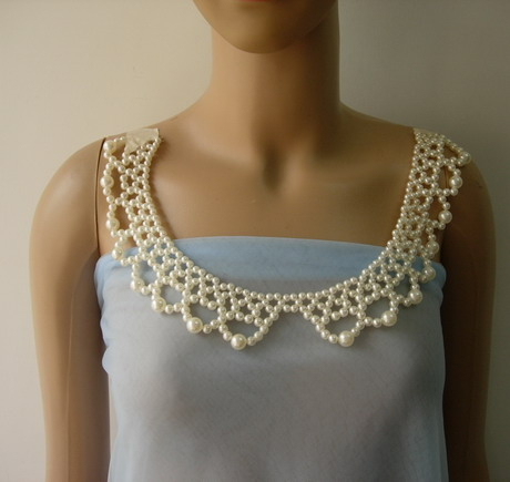 SB273 Pearl Beaded Woven Peter Pan Collar Necklace Sew On Dress