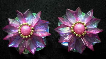 SB58 Shell Paillette Pearl Beaded Motif Shoes Flower Brooch Pink