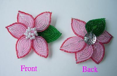 SB90 Petal Flower Beaded Applique Brooch Pin Pink Green