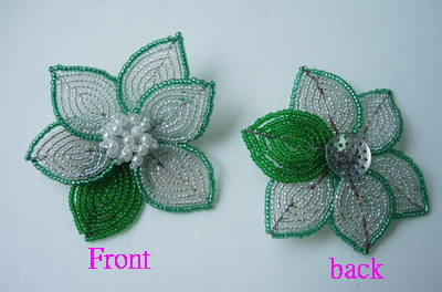 SB91 Petal Flower Beaded Applique Brooch Pin White Green