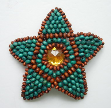 SB95-2 Star Wood Beaded Amber Applique for Fashion
