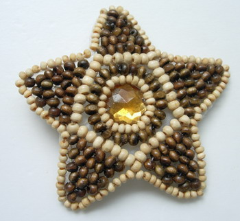 SB95 Star Wood Beaded Amber Applique for Fashion