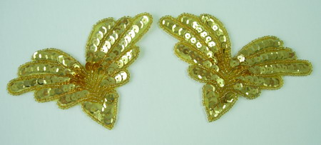 SY10 Sequin Applique Multi V Gold 2pcs