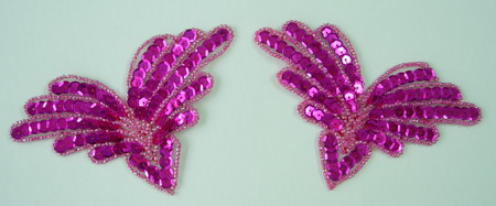 SY13 Sequin Applique Multi V Fuchsia Motif 2pcs