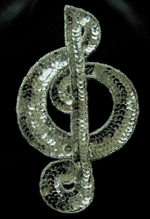 SY21 Treble Musical Clef SILVER Sequin Applique Motif Symbol