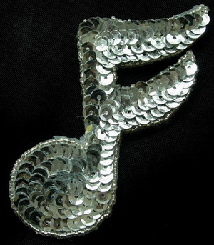 SY23 Musical Note 16th SILVER Sequin Applique Motif Symbol