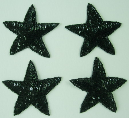 SY09 Sequin Bead Applique Black Star 4pcs