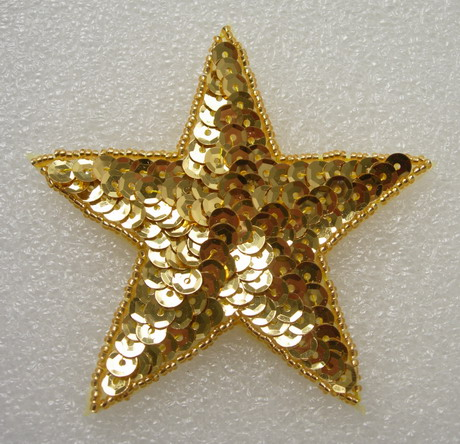 SY07 Sequin Beaded Applique Gold Star Stars Motif