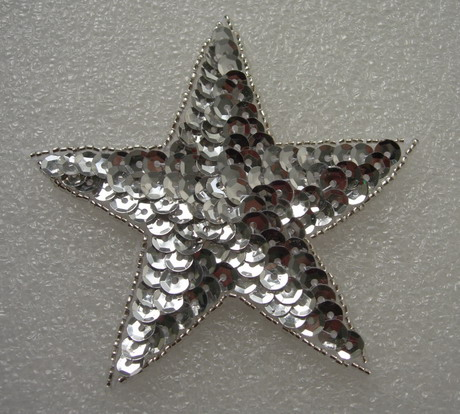 SY08 Sequin Bead Applique Silver Star Stars Motif