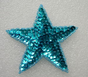 SY09-3 Sequin Beaded Applique Aqua Star Stars Motif