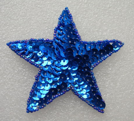 SY09-4 Sequin Beaded Applique Royal Blue Star Stars Motif