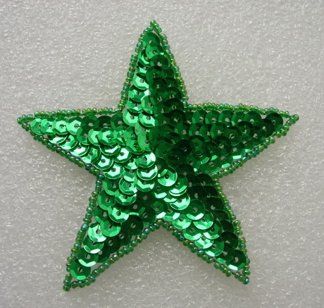 SY09-5 Sequined Beaded Applique Green Star Stars Motif