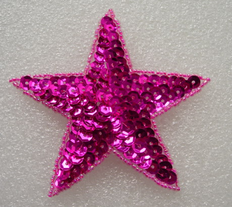 SY09-6 Sequined Beaded Applique Fuchsia Star Stars Motif