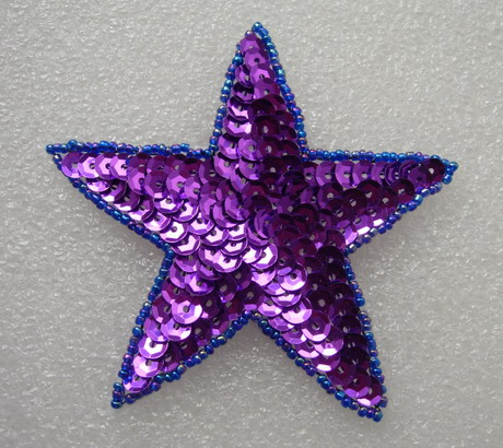 SY09-7 Sequined Beaded Applique Purple Star Stars Motif