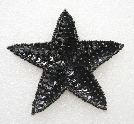 SY09 Sequined Beaded Applique Motif Black Star Stars