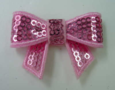 SY112 Little Bow Tie Sequin Applique Pink Iron On x4
