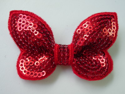 SY122 Little Butterfly Bow Tie Sequin Applique Red Iron On x4