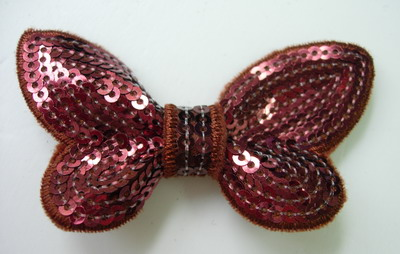 SY123 Little Butterfly Bow Tie Sequin Applique Brown Iron On x4