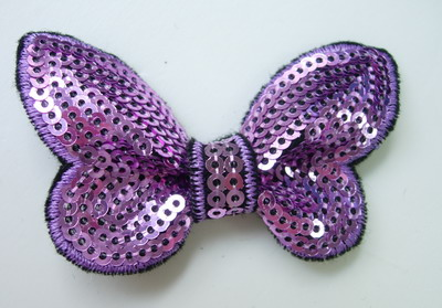 SY126 Little Butterfly Bow Tie Sequin Applique Lavender x4