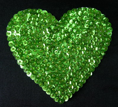 SY131 Huge Heart Sequins Beaded Applique Hand Stitched Lime