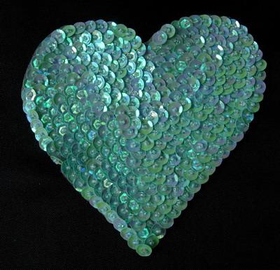 SY134 Huge Heart Sequins Beaded Applique Hand Stitched Blue Iris