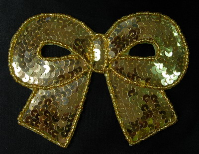 SY140 Gold Big Bow Sequin Bead Applique Belly Dance Tutu Skating