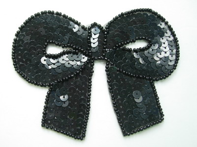SY141 Black Big Bow Sequin Bead Applique Belly Dance Tutu Skate